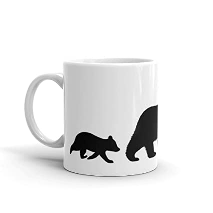 amazon com grizzly bear family silhouettes mug 11 oz white ceramic