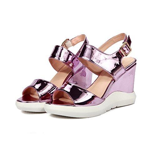 Amoonyfashion Kvinna Kick-häl Lackläder Fast Spänne Öppen Sandaletter Rosa