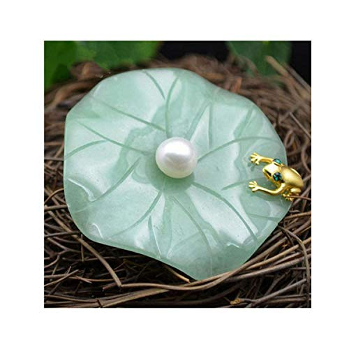 Stone Brooches Natural - Natural Fresh Water Pearl Aventurine Lotus Leaf Frog Brooches For Women Pendant Dual Use Fine Jewelry,1