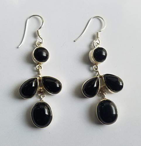 Black Onyx Earring, 925 Silver Earring, Cluster Earrings, Festival Earrings, Statement Earrings, Love Earrings, Groom Gift Earrings, Healing Crystal, Extraordinary Earrings, Ethnic Gypsy Earrings Gift