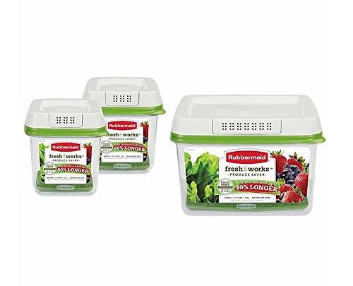 Rubbermaid FreshWorks Produce Saver 3-piece Set 2 x Medium, 1 x Large