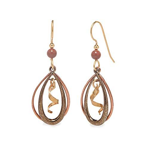 Silver Forest Earrings - loop swirly gold dangle