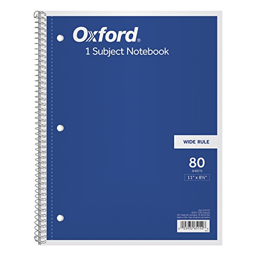 - Oxford 1-Subject Notebook, 8-1/2