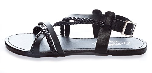 Charles Albert Womens Strappy Criss-Cross Flat Sandal With Slingback Buckle Black F9URv
