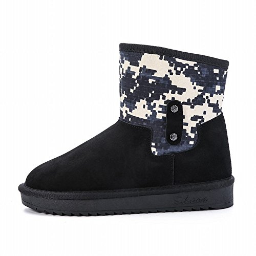 Carolbar Womens Assorted Colors Fashion Warm Comfort Flat Snow Boots Black vl2ZhEM0Hw