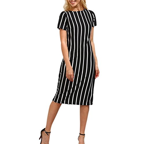Women Striped Knee Length Dress, Beautyfine Lady Casual Short Sleeve Party - Knit Denim Dress Stretch