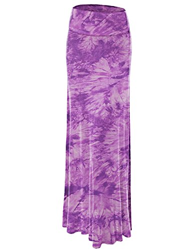 - WB1058 Womens Tie Dye Fold Over Maxi Skirt L Purple