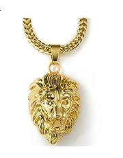 سلسلة بدلاية على شكل رأس اسد مطلية بالذهب للرجال
