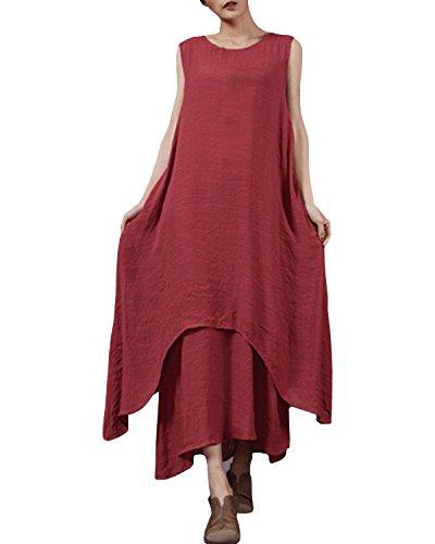StyleDome Vestido Largo Casual Elegante Fiesta Noche Lino Cuello Redondo sin Mangas para Mujer Burdeos