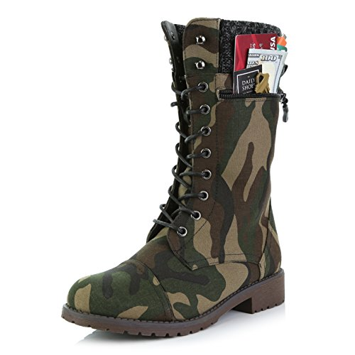 DailyShoes Women's Combat Style Lace up Ankle Bootie Round Toe Military Knit Credit Card Knife Money Wallet Pocket Boots, Camouflage CV, 8