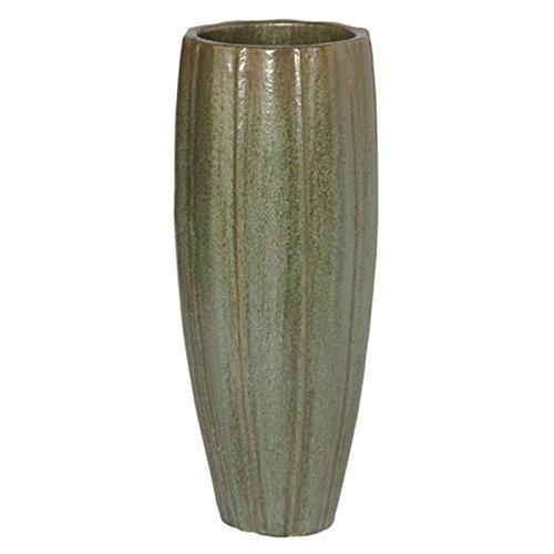 Medium Ridged Cylinder Ceramic Planter - Mint Green Metallic by Emissary