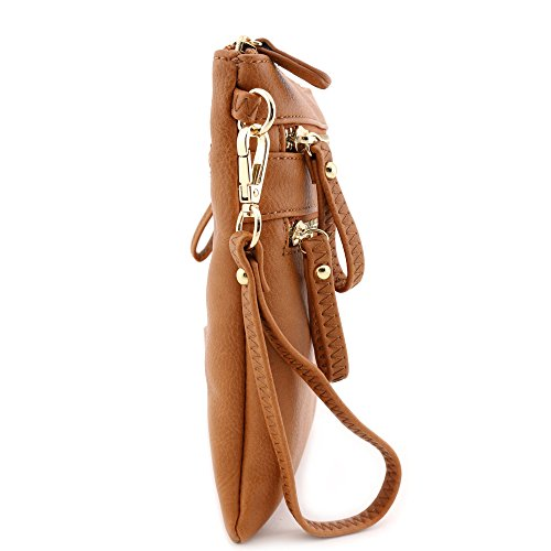 Crossbody with Bag Multi Pocket Wristlet Emblem Zipper Tan fntnqZ