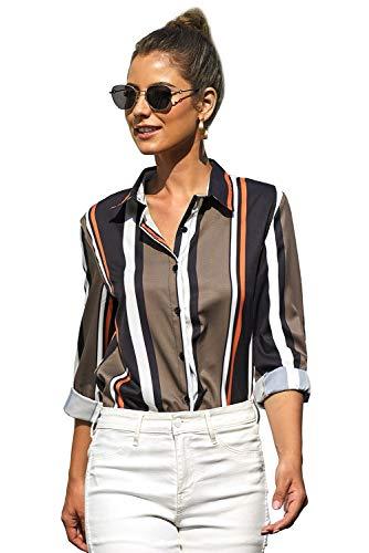 ELF QUEEN Women's Striped Modern V Neck Roll Up Sleeve Button Down Casual T-Shirt Tops Blouse