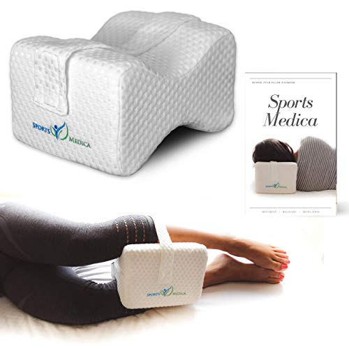 Doctor Developed Luxury Knee Pillow - Orthopedic Memory Foam Wedge Contour for Sciatica, Back Pain, Hip and Leg - Free E-Book ()