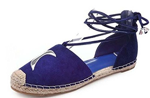 Beauqueen Bombas ZAPATOS OCASIONALES Las muchachas del verano agrupan el lazo plano de la armadura simple Azul Beige Comfortbale calzan Europa Tamaño estándar 34-39 Blue