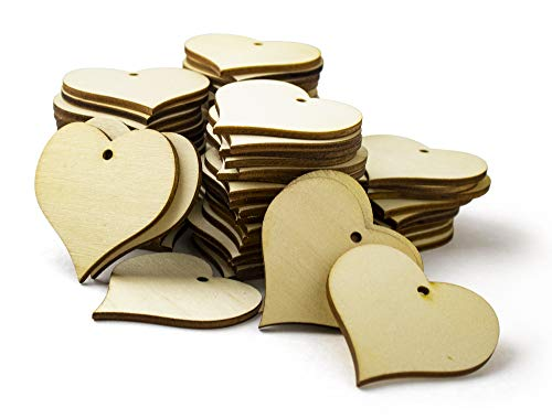 Heart Shaped Ornaments (Bastex Wood Heart Shape 2 inch Slices 100 Pieces. Blank Wooden Tags with Holes. Great for DIY Wedding Décor, Wood Burning, Making Ornaments. 47mm Heart Shaped Craft Wood Name)