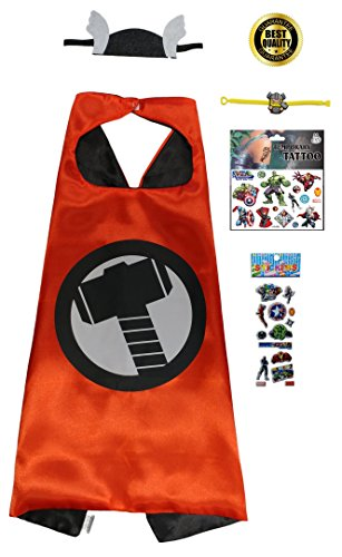 Thor Girl Costumes (Thor 5 Piece Set with Cape, Headband, Stickers, Bracelet & Temporary Tattoos)