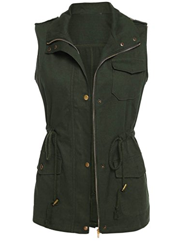 Qearl Women's Zip Up Drawstring Anorak Jacket Military Vest w/ Pockets (M, Army (Women In The Army)