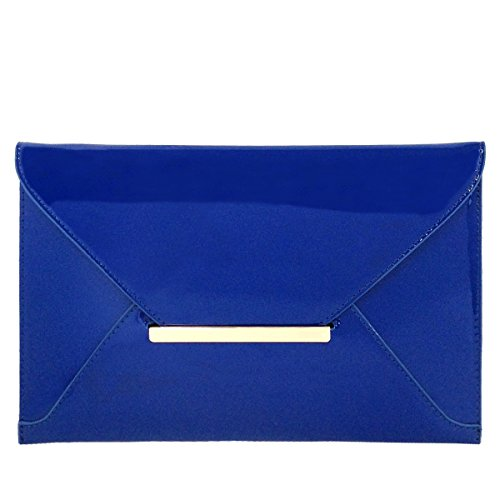 Faux Patent Leather Envelope Candy Clutch Bag, Royal Blue Dark Blue Patent Leather
