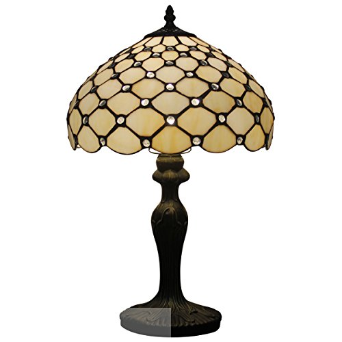 - Tiffany Lamp with Cream Crystal Pearl Bead for Stained Glass Lampshade in 18 inch Tall for Living Room