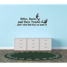 Decal - Vinyl Wall Sticker : Rifles Racks And Deer Tracks ...that's What Little Boys Are Made Of Hunting Hunter Sports Quote Sign Banner Bumper Living Room Bedroom Kitchen Home Decor Picture Art Image Peel & Stick Graphic Mural Design Decoration - Discounted Sale Item - Size : 15 Inches X 30 Inches - 22 Colors Available