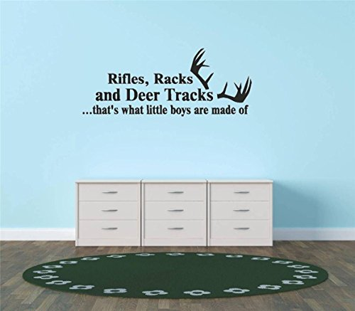 Top Selling Decals - Prices Reduced : Stickers : Rifles Racks And Deer Tracks ...that's What Little Boys Are Made Of Hunting Hunter Sports Quote Sign Banner Bumper Living Room Bedroom Kitchen Home Decor Picture Art Image Peel & Stick Graphic Mural Design Decoration - Item - Size : 10 Inches X 20 Inches - 22 Colors Available