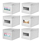 mDesign Soft Stackable Fabric Closet Storage Organizer Holder Box - Clear Window, Attached Hinged Lid, for Child/Kids Room, Nursery, Playroom - Polka Dot Print - Large, 6 Pack - Gray with White Dots