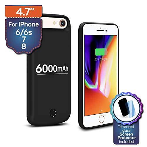 Backup Battery Charger Protective Case 6000mAh for iPhone 6 6s, iPhone7 & iPhone 8. Almost 230% Extra Juice, Fast-Charging Power Bank (Backup Iphone)