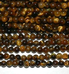 (GR122 Golden Brown Tiger's Eye 4mm Round Gemstone Beads 15