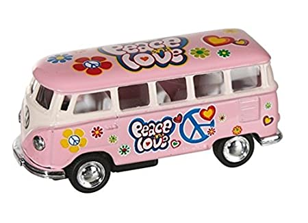 Metall Modellauto Rückziehmotor VW T1 Bus Bulli Vintage Hippie Blumenkinder Blechspielzeug