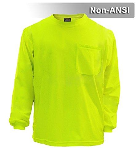 Brite Safety Style 213 Hi Vis Shirt | Long-Sleeve Safety Shirt with Pocket | Non-ANSI | Lightweight Birdseye Moisture Wicking Shirt for Men & Women (Large, Hi Vis Yellow) 213 Apparel