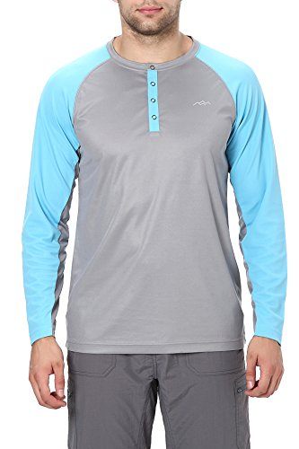 Trailside Supply Co. Men's Long Sleeve Henley Shirt 3X-Large Light Grey + Slate Blue