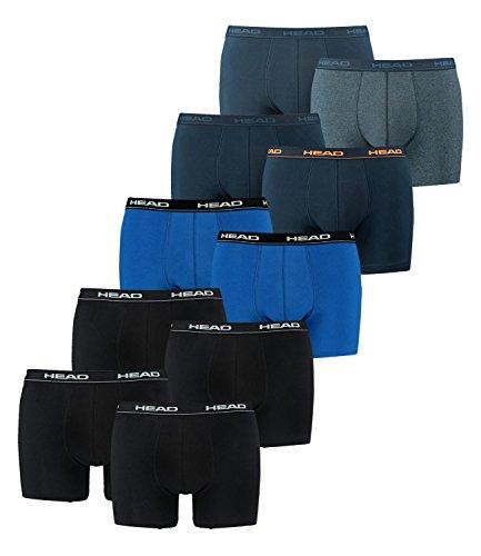 HEAD Herren Boxershorts 841001001 10er Pack, Wäschegröße:L;Artikel:2x2er Black / 1x2er blue/black / 1x2er Peacoat/Orange / 1x2er Blue Heaven