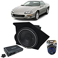 Fits 1993-2002 Chevy Camaro Coupe Driver Side 10 Rockford Punch P1S210 Sub Box Enclosure & R250X1 Amp