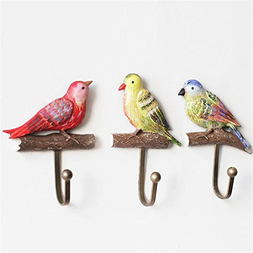 Mother's Day Gifts For Mom,Birds Vintage Hand Made Painted Poly Resin Home Door Wall Mount Hooks Home Towel Clothes Hat Coat Key Hanger (Birds)