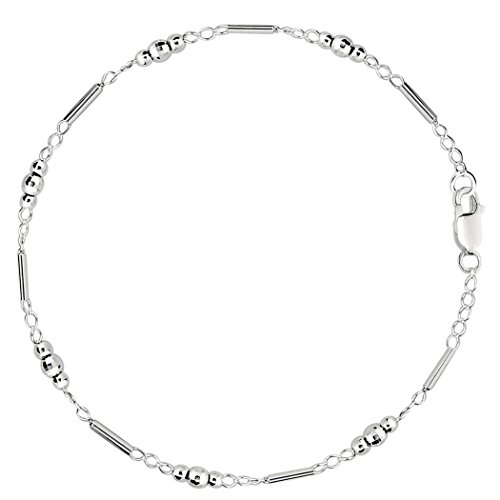 Faceted Bead Chain - Fancy Link With Faceted Beads Chain Anklet In Sterling Silver, 10