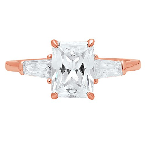 2.0ct Brilliant Emerald Cut Solitaire 3-Stone Engagement Wedding Bridal Anniversary Promise Band Ring Solid 14K Rose Gold for Women, 9.5 by Clara Pucci