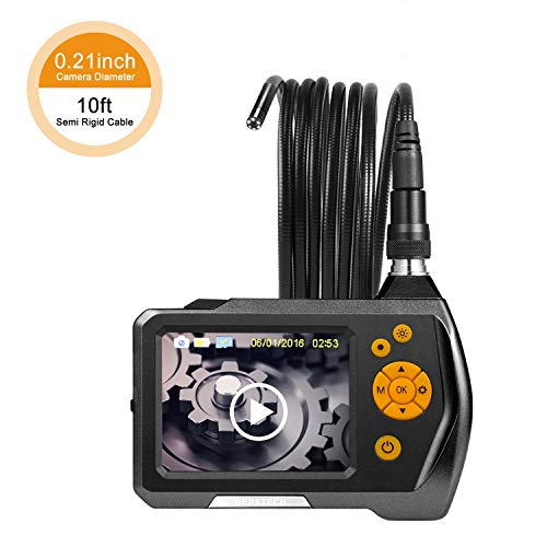 Industrial Endoscope, Depstech 3.5 inch LCD Color Screen Borescope Semi Rigid Cable Inspection Snake Camera with 10FT Tube, Function of Zoom, 360 Degree Rotation and DVR Digital Video (Industrial Video Camera)