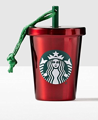 Starbucks 2016 Red Stainless Steel Cold Cup Ornament