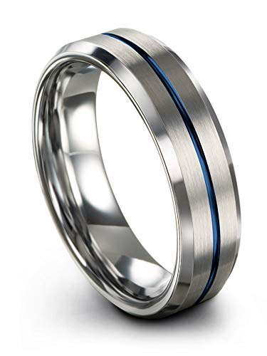 (Chroma Color Collection Tungsten Carbide Wedding Band Ring 6mm for Men Women Blue Center Line Grey Interior with Beveled Edge Brushed Polished Comfort Fit Anniversary Size 14)