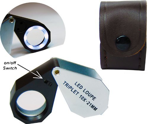 10x21mm Triplet LED Illuminated Jewelers Magnifying Eye Loupe Magnifier by Ade Advanced Optics