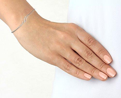 Pavé Privé Chaîne pour femme en argent sterling 925rond blanc diamants Infinity croisés Bolo Charme Bracelet