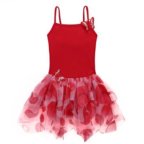 Alvivi Kids Girls Camisole Butterfly Tulle Ballet Dance Leotard Bodysuit Tutu Dance Dress Red 4-5 Years