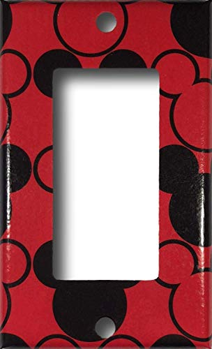 Mickey Mouse Red Black Decorative Rocker/GFCI Light/Outlet Switch Wall Plate Cover