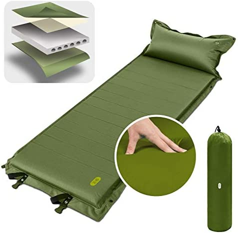 Camping Tent Mattress, Zenph Self-Inflating Portable Sleeping Pad Air Mattress Foam Camping Mat 2 inch Thickness with Air Pillow Lightweight for Backpacking, Hiking and Traveling
