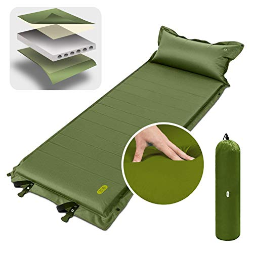 Sleeping Pad, Zenph Self-Inflating Portable Air Mattress Foam Camping Mat 2 inch Thickness with Air Pillow Lightweight for Backpacking, Hiking and Traveling
