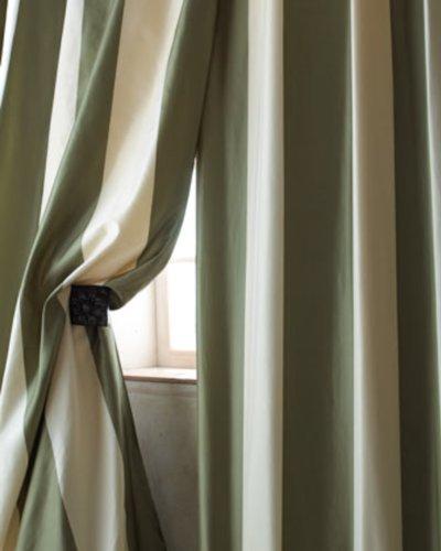 Hampton Ivory & green striped silk tafetta curtain/panel/drape (52
