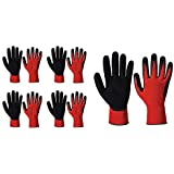 Surex Industrial Safety Nylon Anti Cut Hand Gloves Pack of 5 Pairs- Red Black