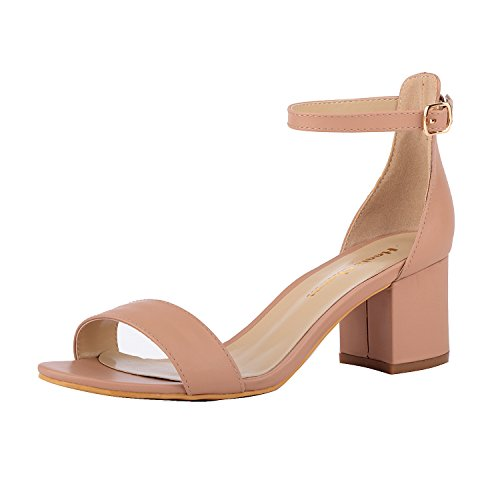 Women's Strappy Chunky Block Low Heeled Sandals 2 Inch Open Toe Ankle Strap High Heel Dress Sandals Daily Work Party Shoes Nude Size 8.5