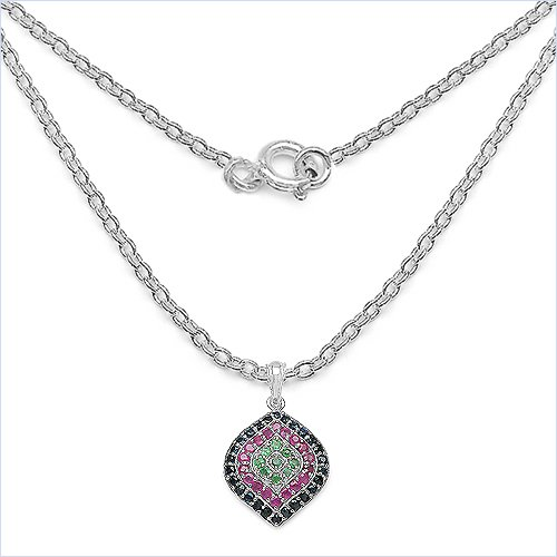 Bijoux Schmidt-Noble Collier / Emerald Necklace / Ruby / Sapphire pendentif-2, 65 carats